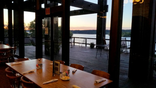 Lake Barkley Restaurant inside but with a beautiful view!